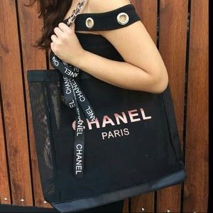 New Chanel VIP Gift Mesh Tote Shopping Bag.